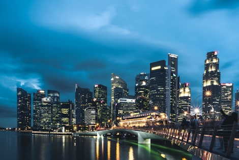 Singapore Skyline at night by the river