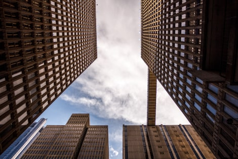 a centre shot between 4 buildings
